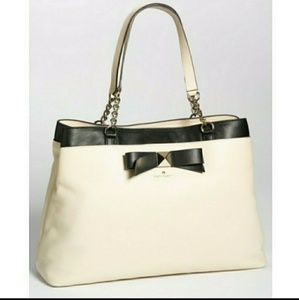 $458⬇Kate spade|beige bow leather tote gold accent
